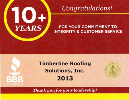 Timberline Roofing Solutions is a Better Business Bureau Accredited Business