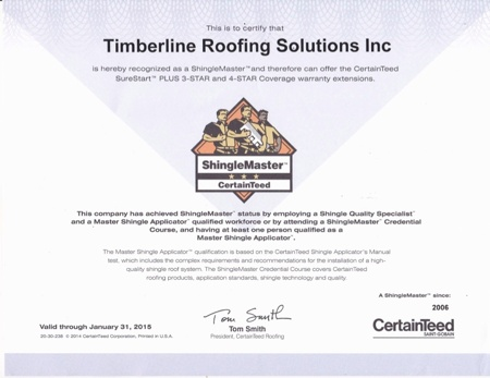 Timberline Roofing Solutions is recognized as as a ShingleMaster