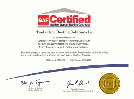 Timberline Roofing Solutions has achieved the status of GAF-Elk Certified Weather Stopper Roofing Contractor